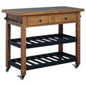 Signature Design by Ashley Marlijo Pine Kitchen Cart with Concrete Top & Metal Shelves