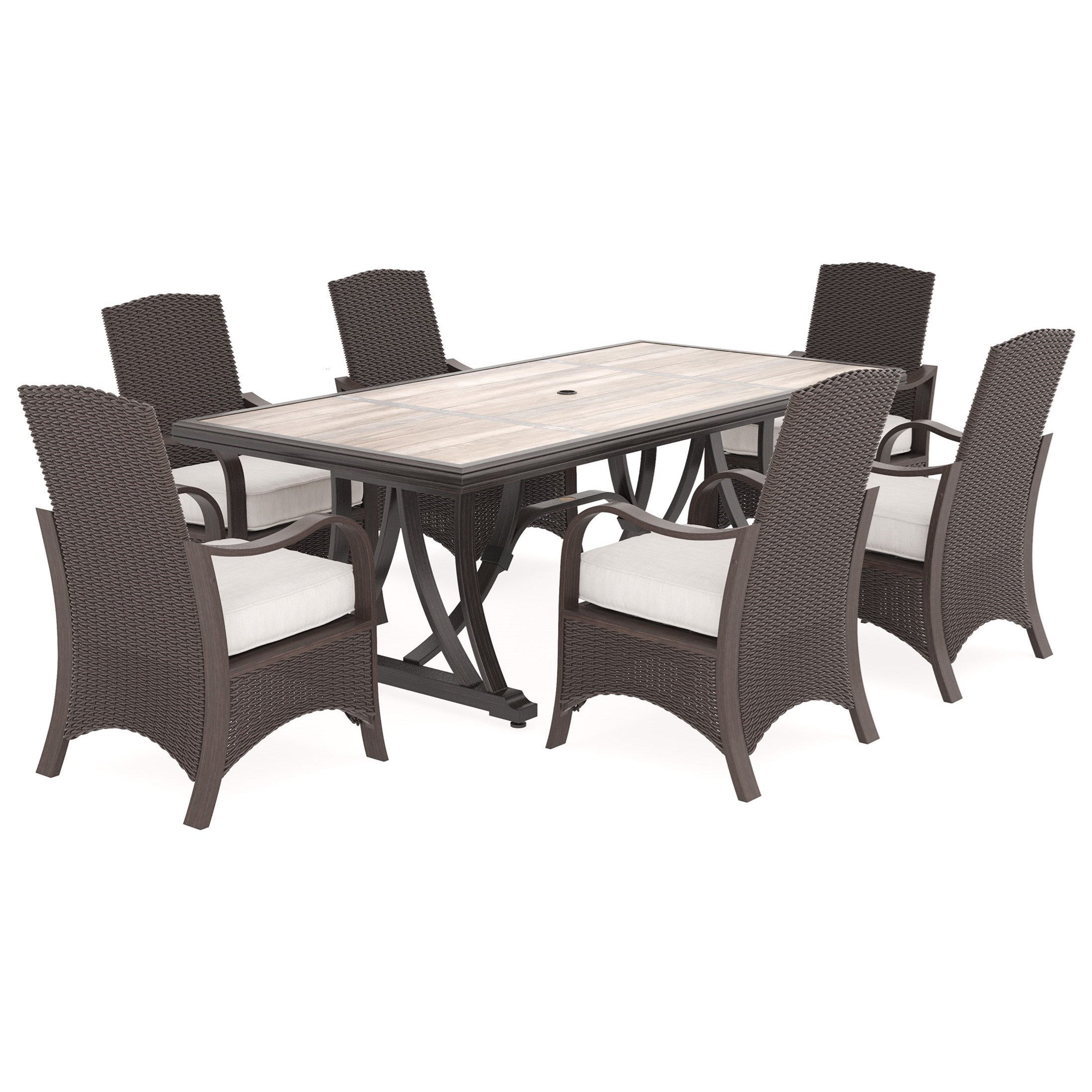Signature Design by Ashley Marsh Creek 7 Piece Outdoor Dining Set - Item Number: P775-625+3x601A
