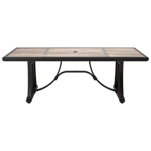 Signature Design by Ashley Marsh Creek Rectangular Dining Table w/ Umbrella Option