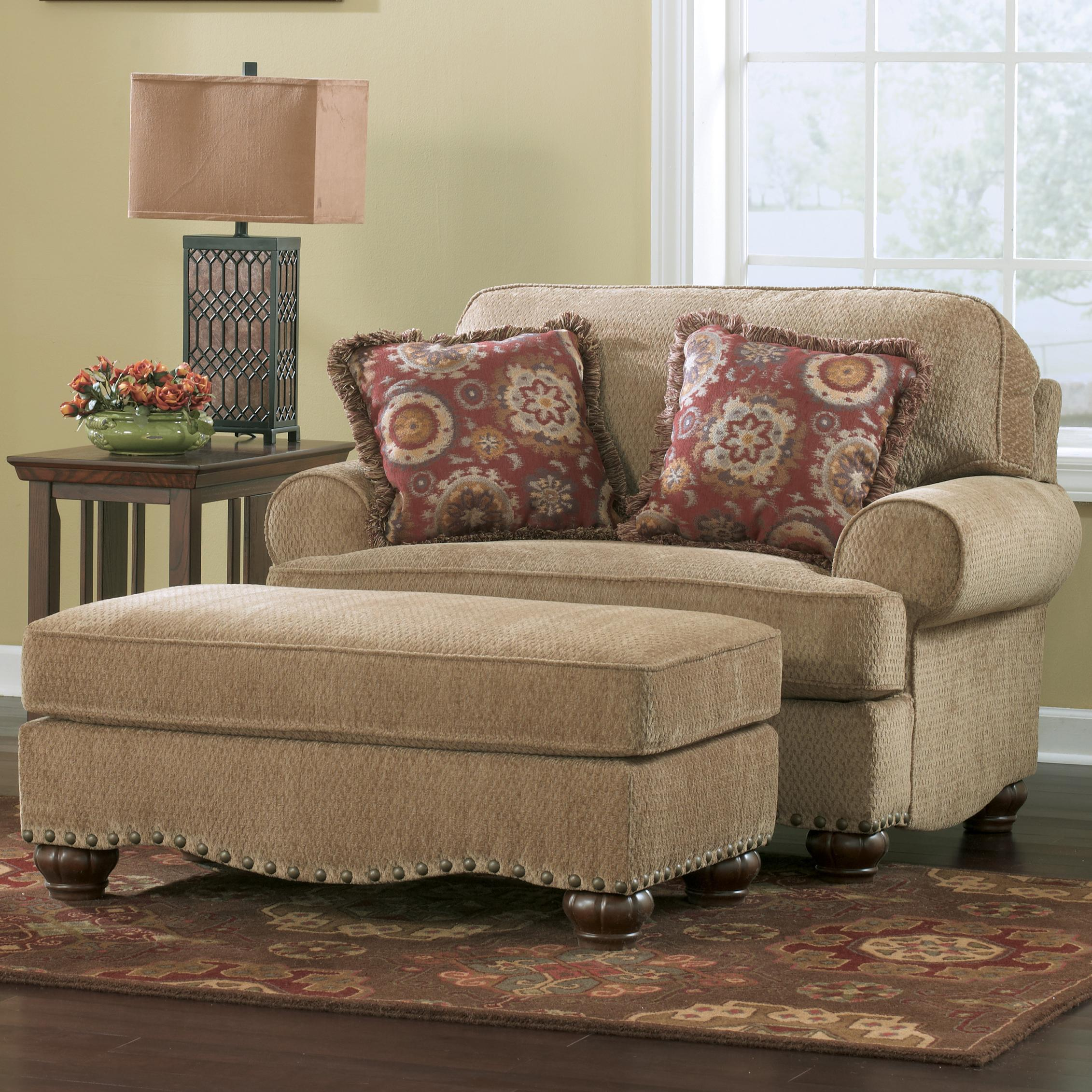 Ashley (Signature Design) Martin Court - Caramel Chair and 1/2 and Ottoman - Item Number: 7830323+7830314
