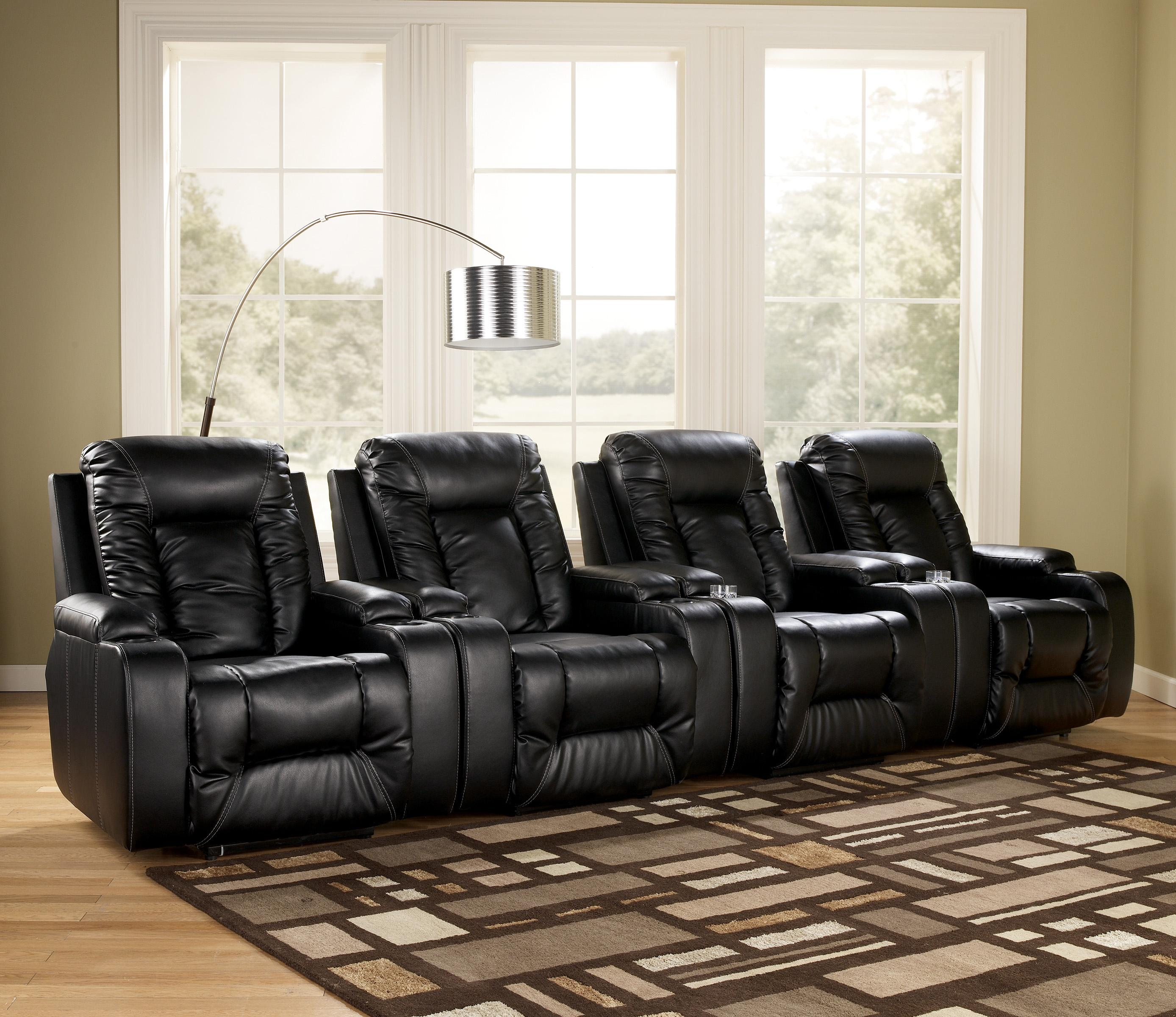 Signature Design by Ashley Matinee DuraBlend® - Eclipse 4 Piece Theater Seating Group - Item Number: 8740106x4