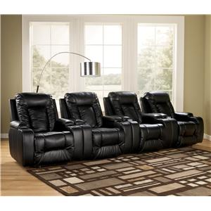 Signature Design by Ashley Furniture Matinee DuraBlend® - Eclipse 4 Piece Theater Seating Group