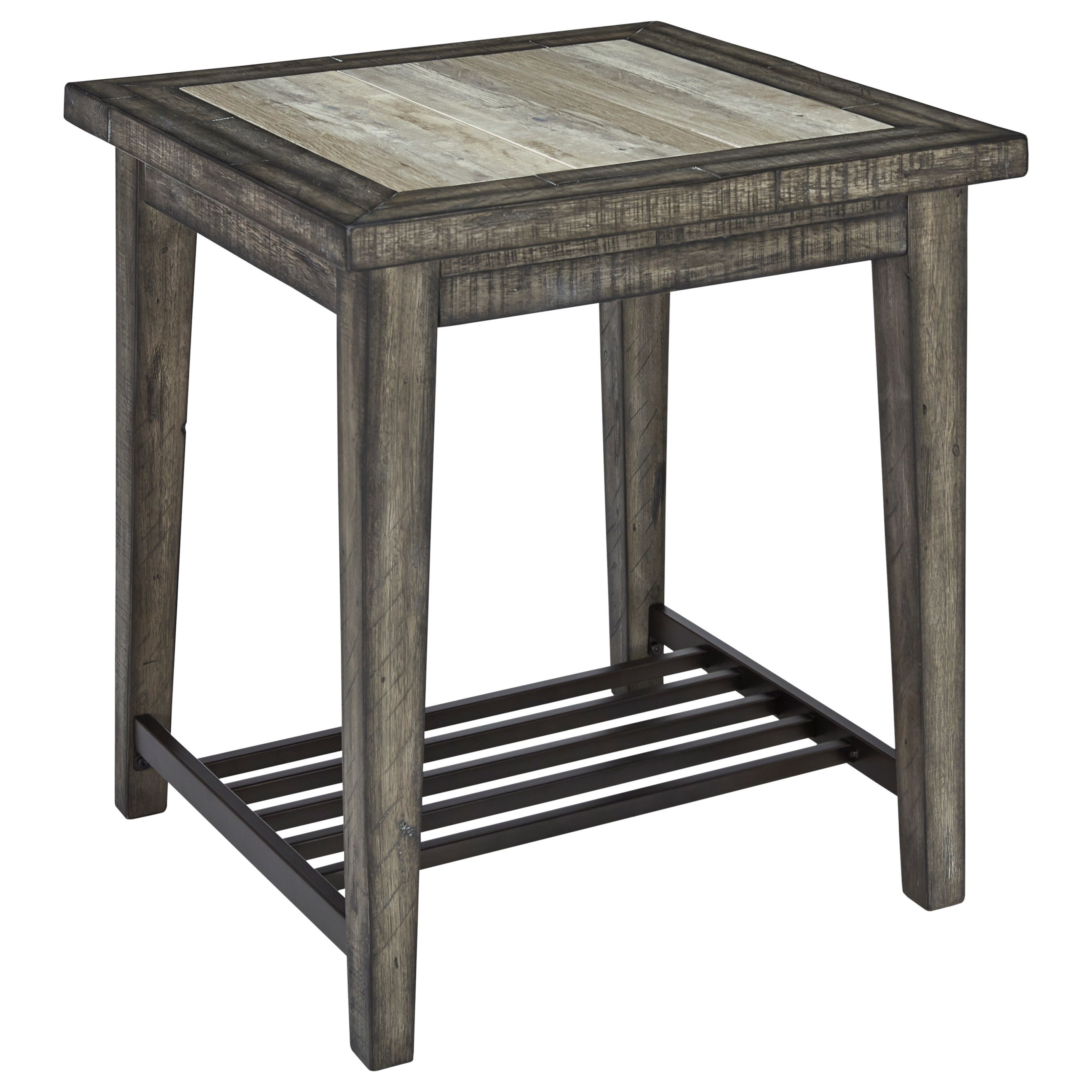 Signature Designs By Ashley Rollins Square End Table: Mavenry Rustic Square End Table With Ceramic Tile Top