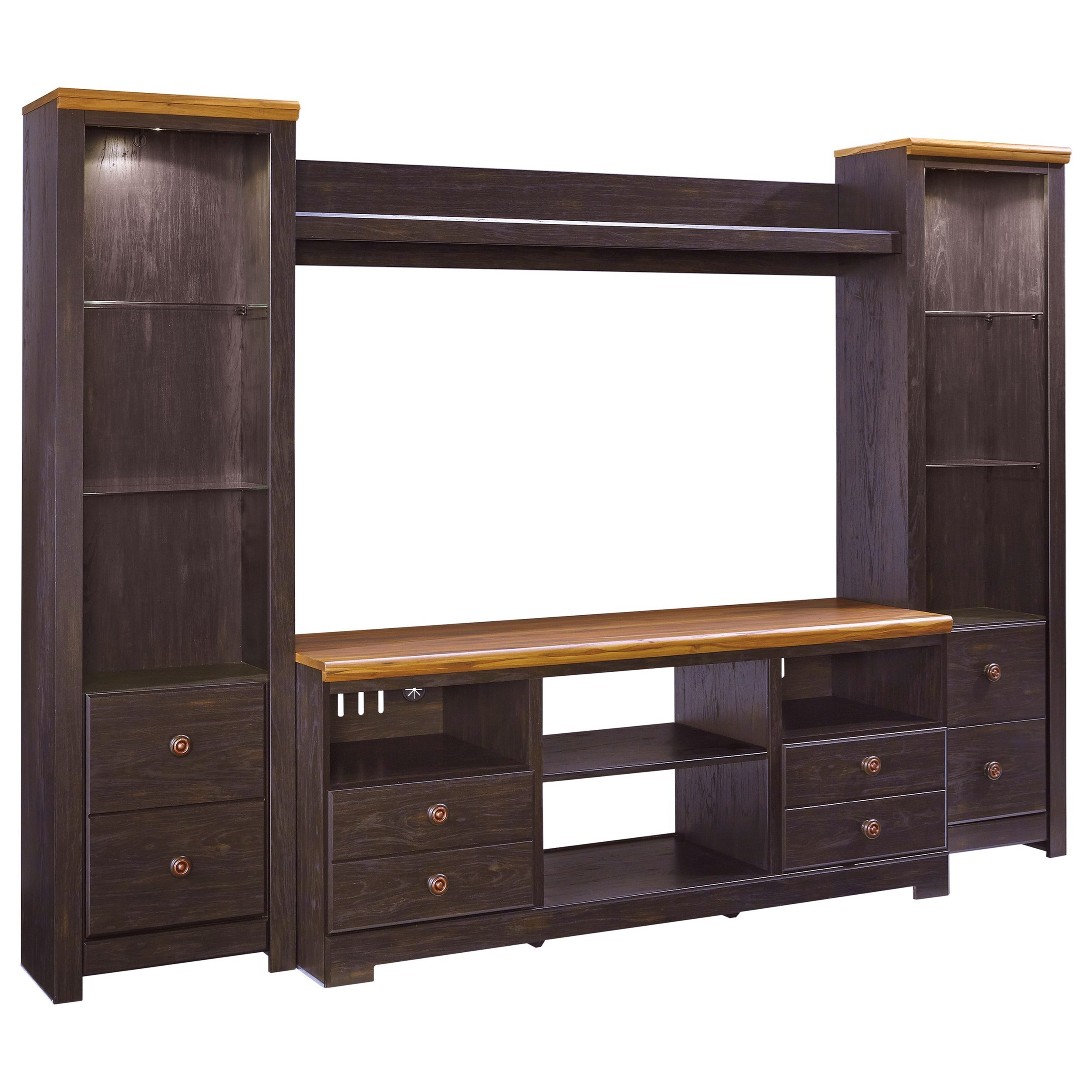 Signature Design by Ashley Maxington Large TV Stand w/ 2 Tall Piers and Bridge - Item Number: W220-68+2x24+27