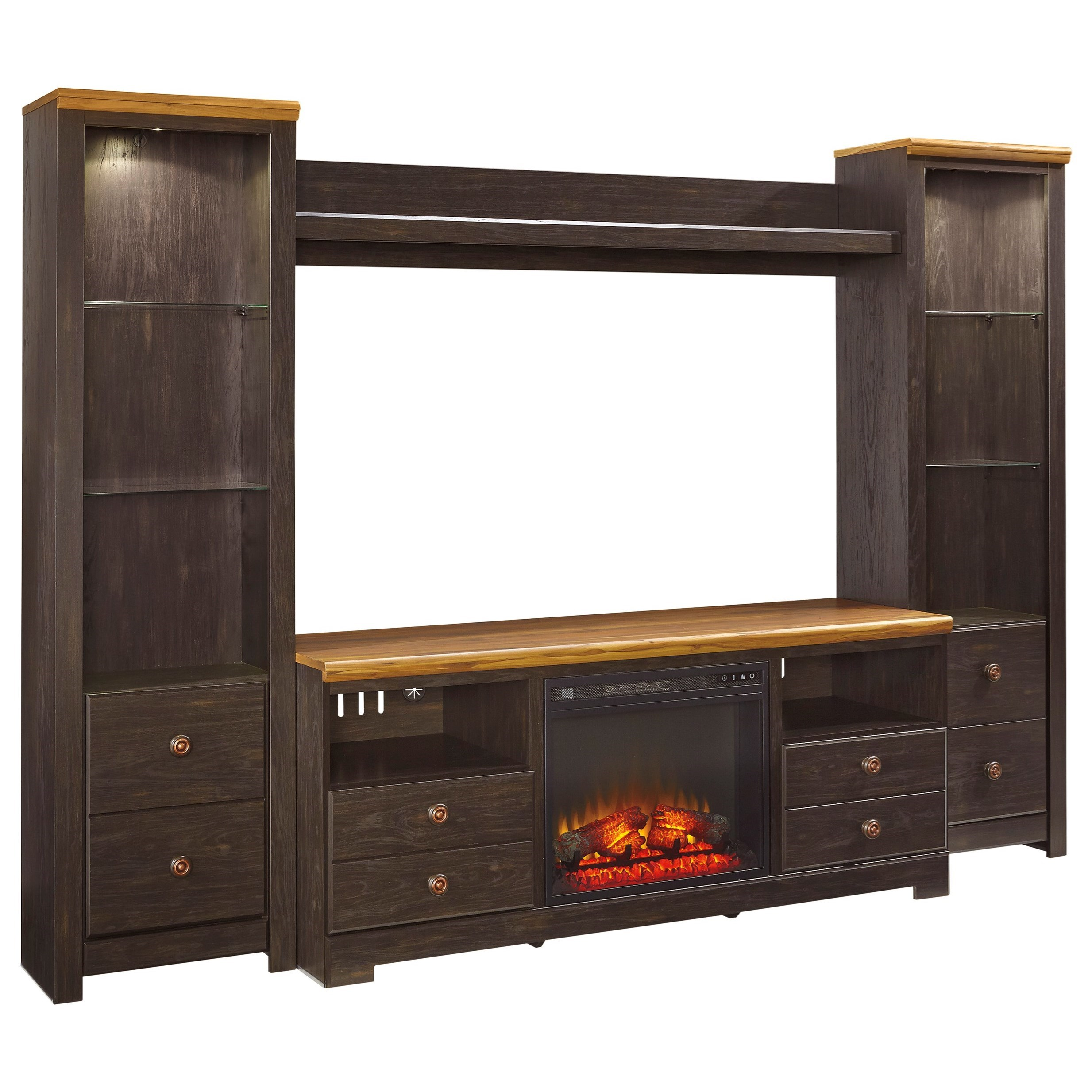 Signature Design by Ashley Maxington Large TV Stand w/ Fireplace, Piers & Bridge - Item Number: W220-68+W100-01+2xW220-24+27
