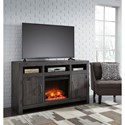 Signature Design by Ashley Mayflyn Reclaimed Solid Wood Large TV Stand with Fireplace Insert