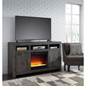 Signature Design by Ashley Mayflyn Reclaimed Solid Wood Large TV Stand with Contemporary Fireplace Insert