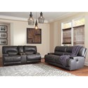 Signature Design by Ashley McCaskill Contemporary Leather Match Double Reclining Loveseat w/ Console