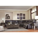 Signature Design by Ashley McCaskill Contemporary 3-Piece Leather Match Power Reclining Sectional