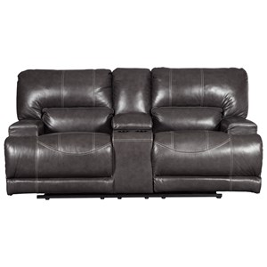 Signature Design by Ashley McCaskill Double Reclining Power Loveseat w/ Console