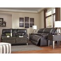Signature Design by Ashley McCaskill Contemporary Leather Match Double Reclining Power Loveseat w/ Console