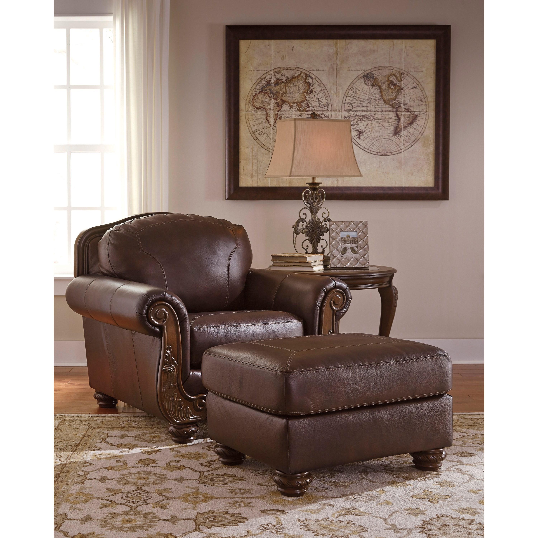 Ashley Signature Design Mellwood 6460514 Traditional Leather Match Ottoman Dunk Bright