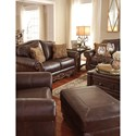 Signature Design by Ashley Mellwood Traditional Leather Match Chair & Ottoman