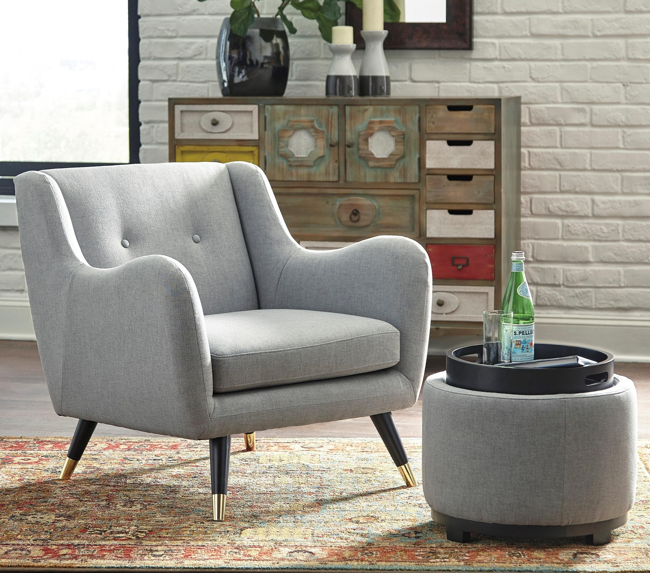 Signature Design By Ashley Menga Accent Chair U0026 Ottoman With Storage   Item  Number: A3000038