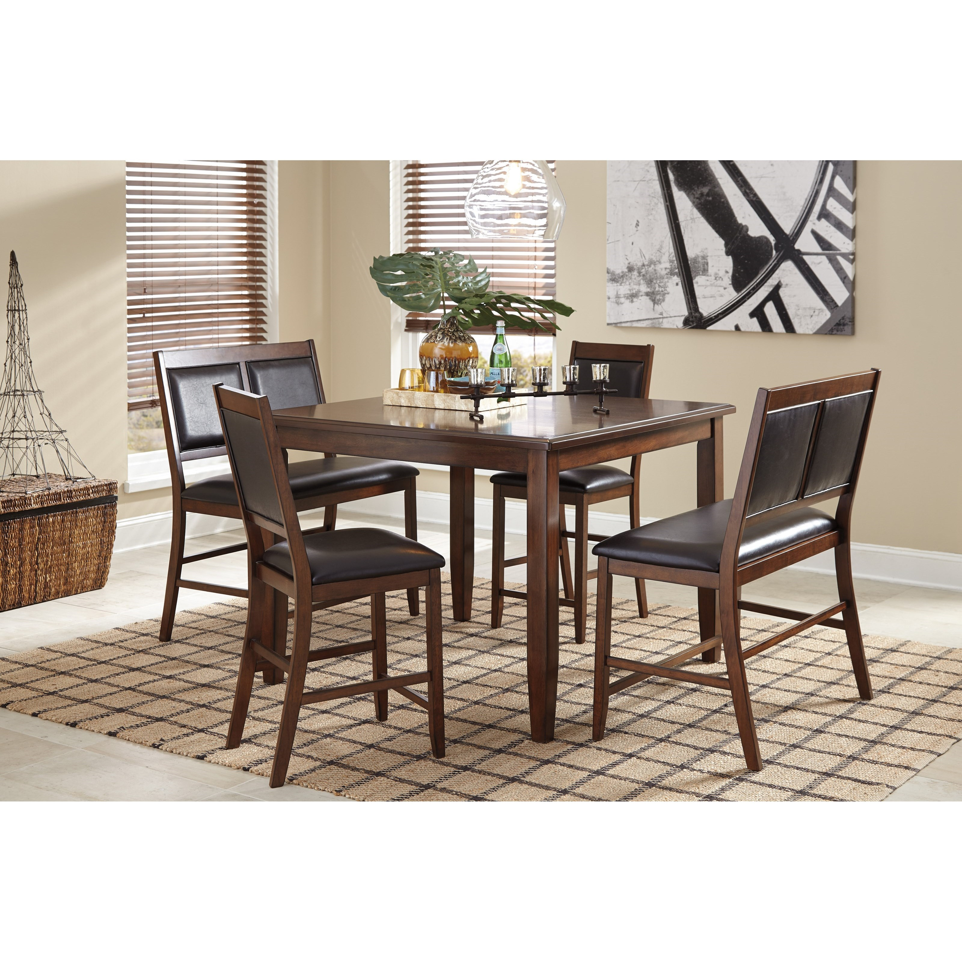 Signature design by ashley meredy d395 323 5 piece dining for 2 piece dining room set