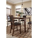 Signature Design by Ashley Meredy 5-Piece Dining Room Counter Table Set with 2 Benches