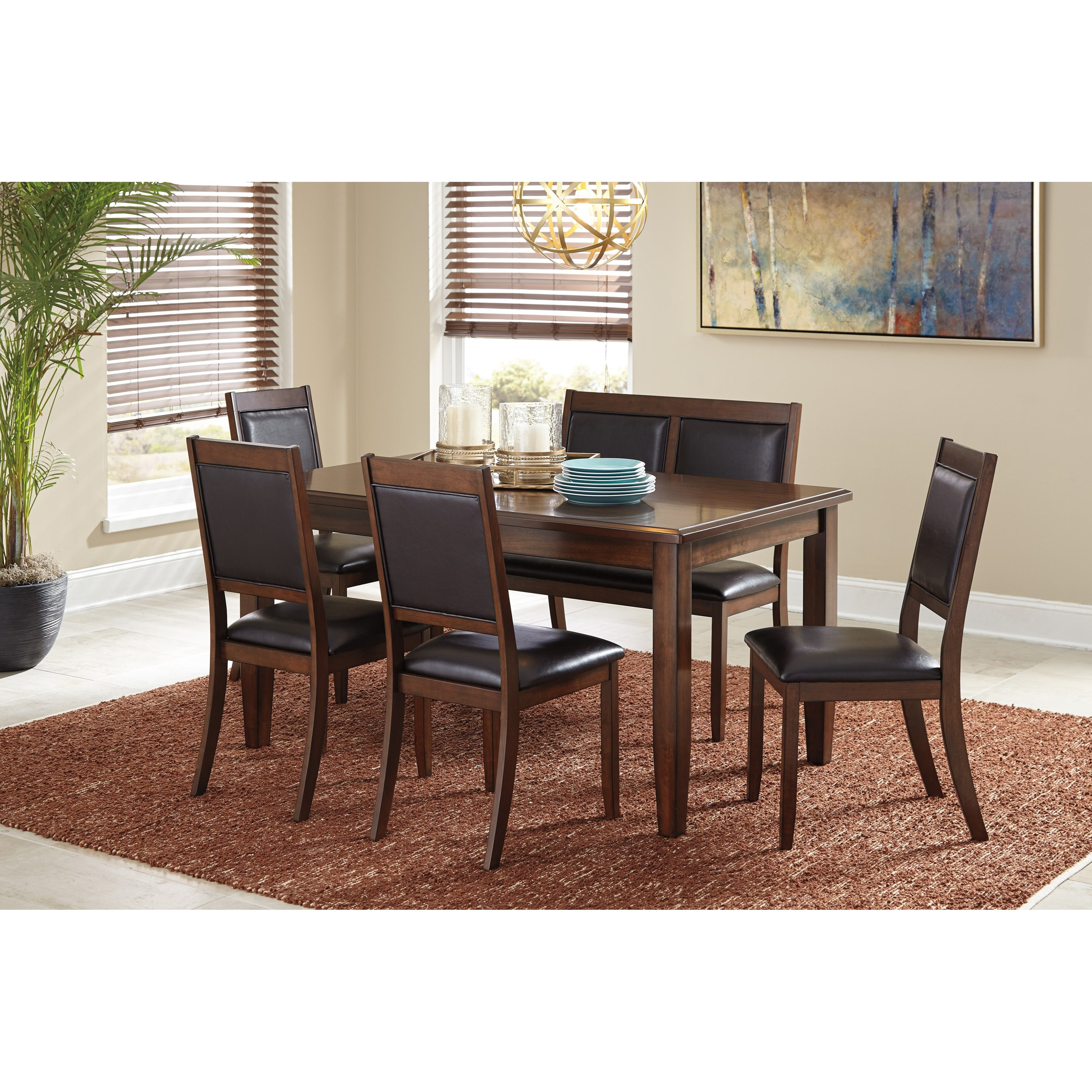 Signature Design By Ashley Meredy 6 Piece Dining Room Table Set With Bench Miskelly Furniture