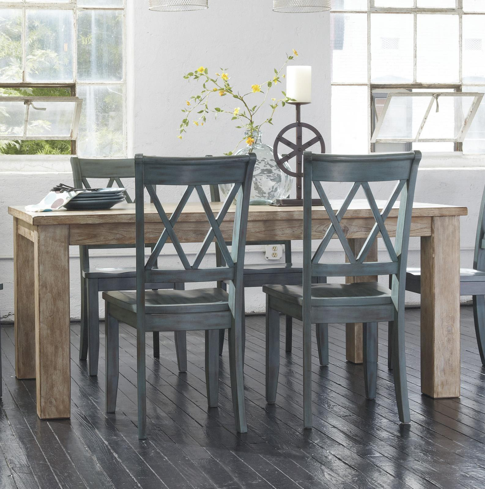 5-Piece Table Set - Signature Design By Ashley Mestler Table With 4 Antique Blue Chairs