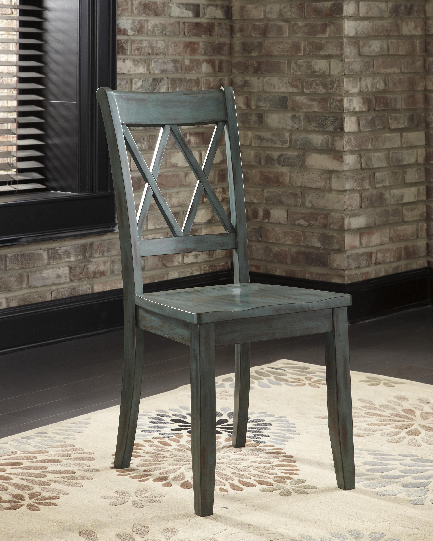 Mestler Antique Blue Green Dining Room Side Chair Ruby Gordon Furniture Mattresses Dining