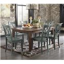 Signature Design by Ashley Mestler 7-Piece Table Set with Antique Blue Chairs - Item Number: D540-125+6x101