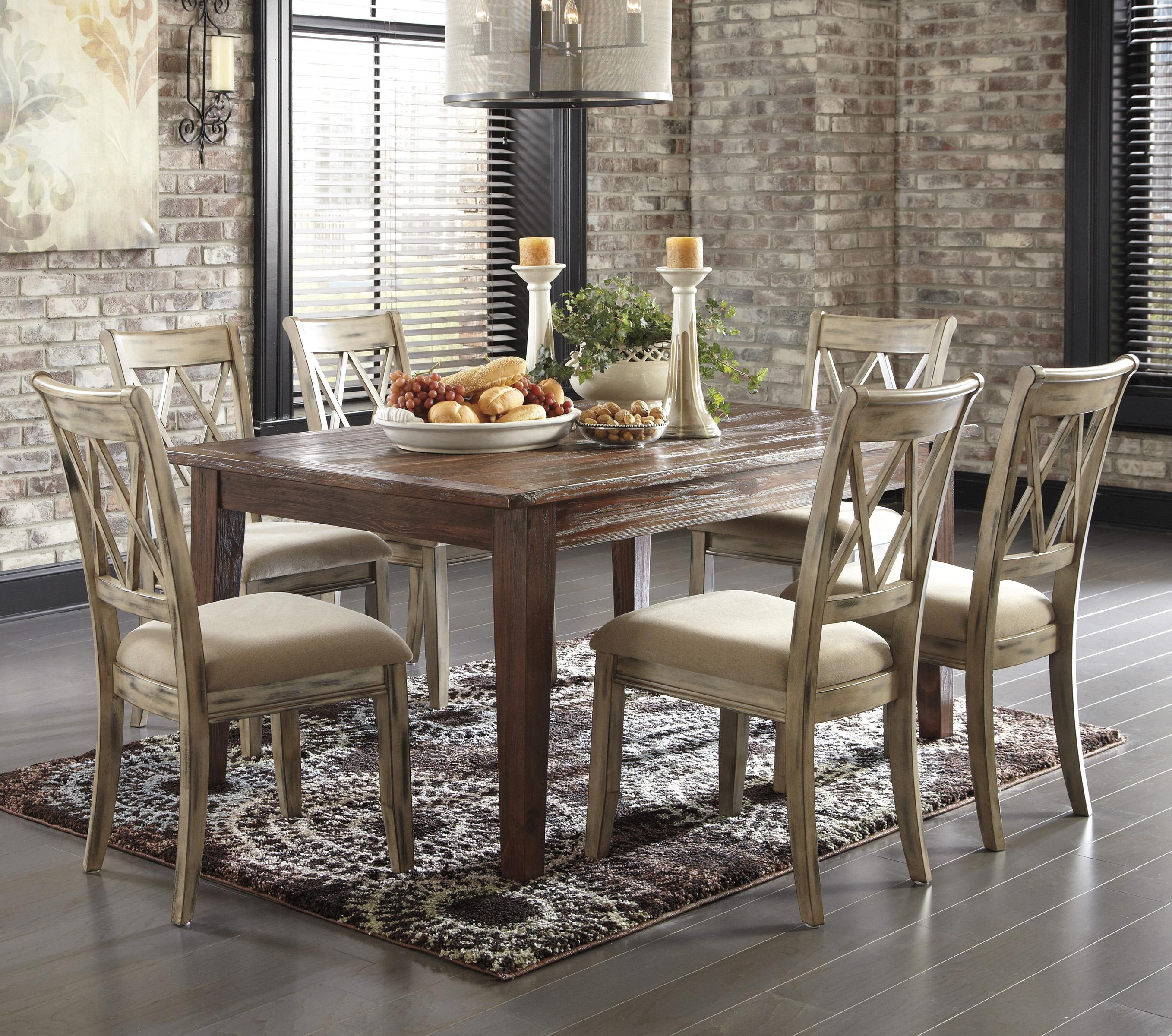 Signature Design by Ashley Mestler 7-Piece Table Set with Antique White Chairs - Item Number: D540-125+6x102