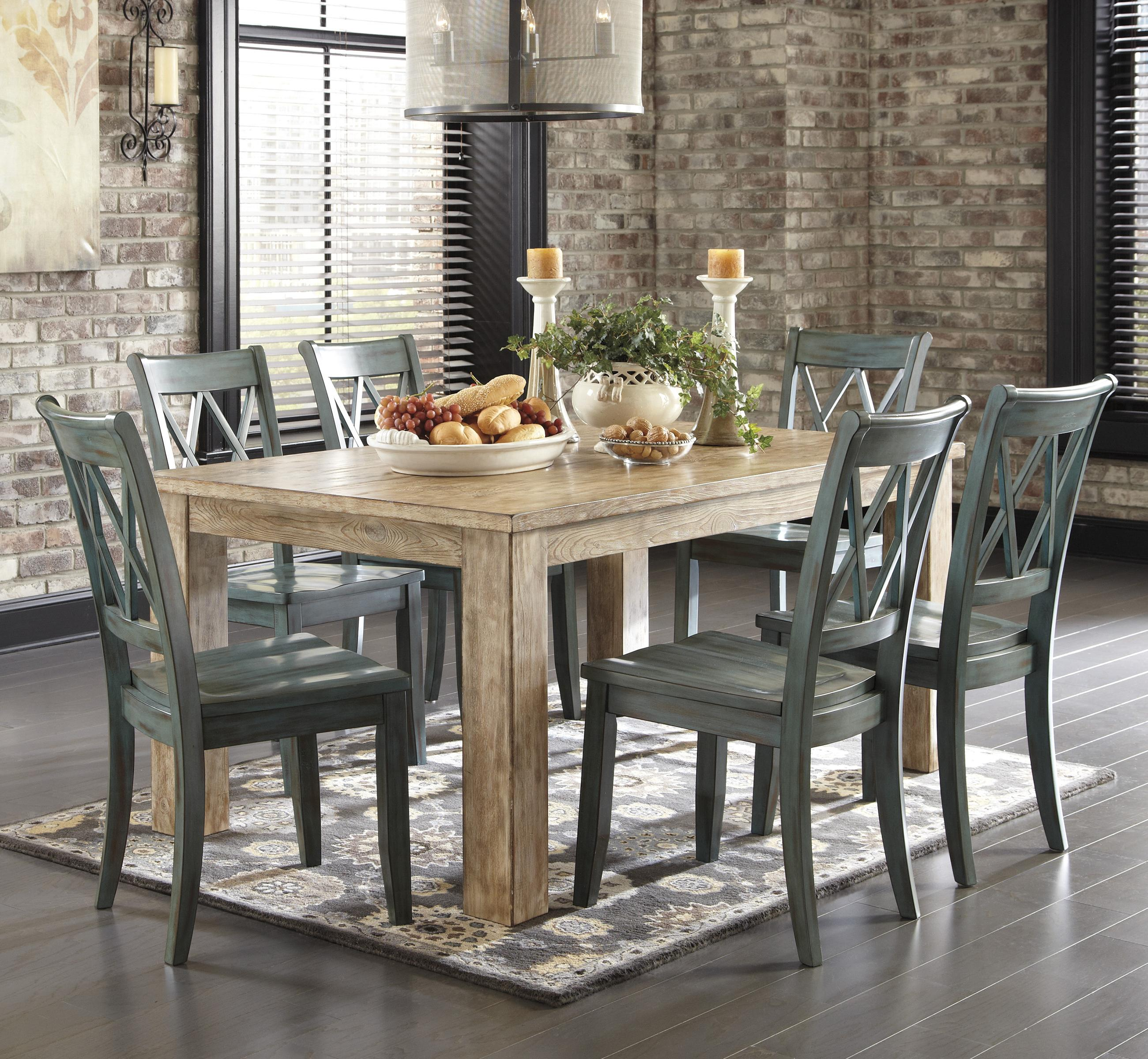 Signature Design By Ashley Mestler 7 Piece Table Set With Antique Blue  Chairs   Item