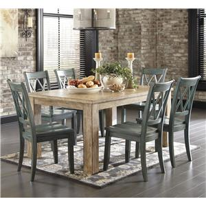 Signature Design By Ashley Mestler 7 Piece Table Set With Antique Blue  Chairs