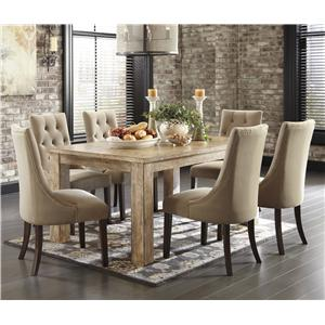 Signature Design By Ashley Mestler 7 Piece Dining Set With Upholstered Chairs