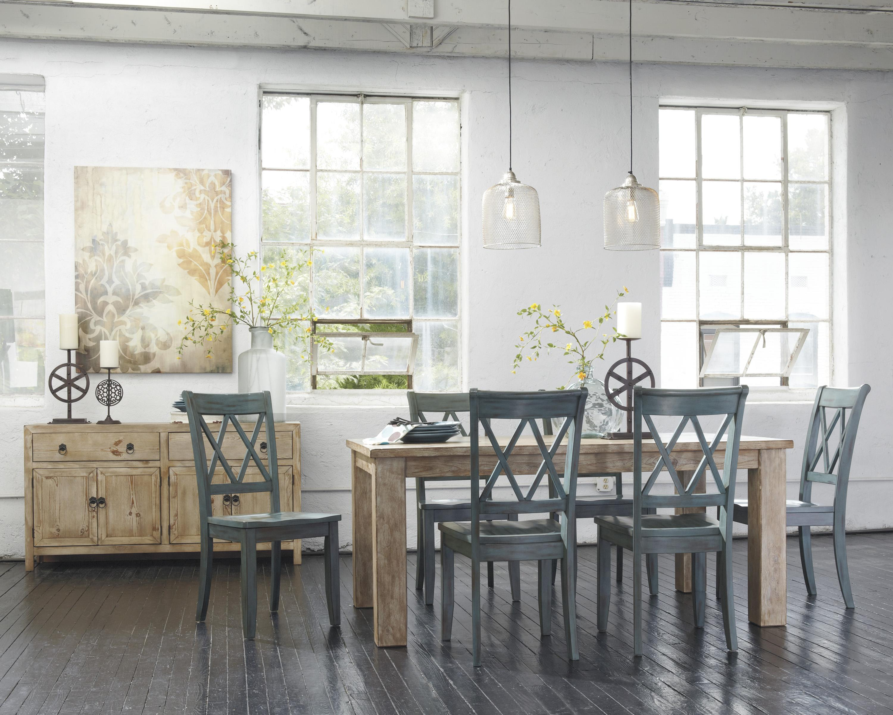 Signature Design By Ashley Mestler D540 225 Driftwood Finish Rectangular Dining Room Table With