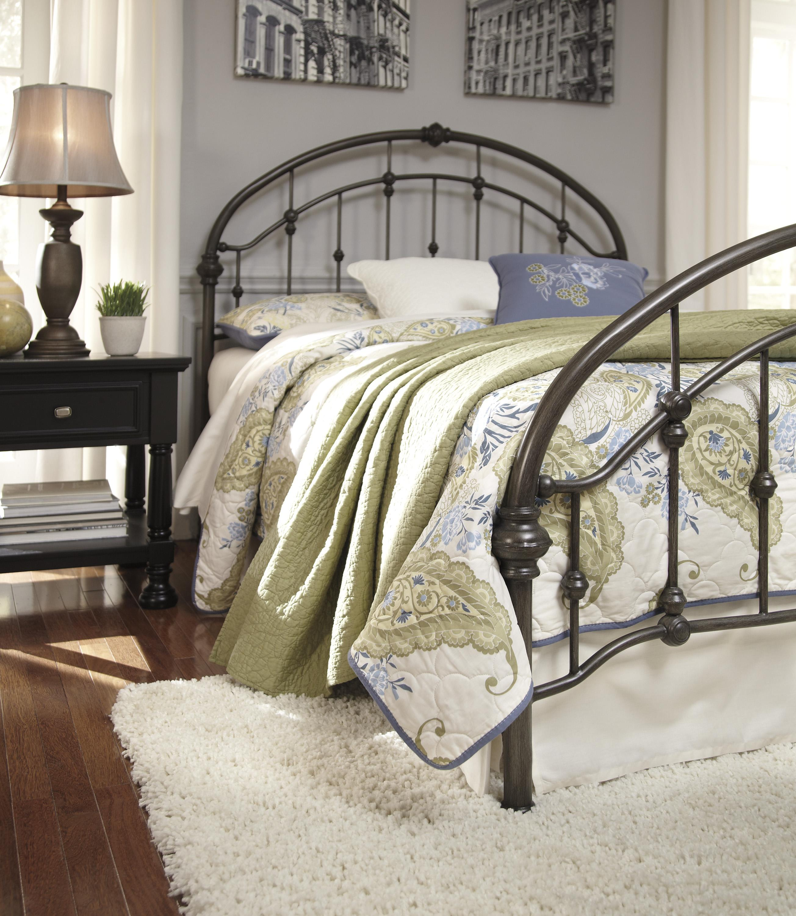 Ashley Signature Design Nashburg B280 182 King Arched Metal Bed In Bronze Color Finish Dunk