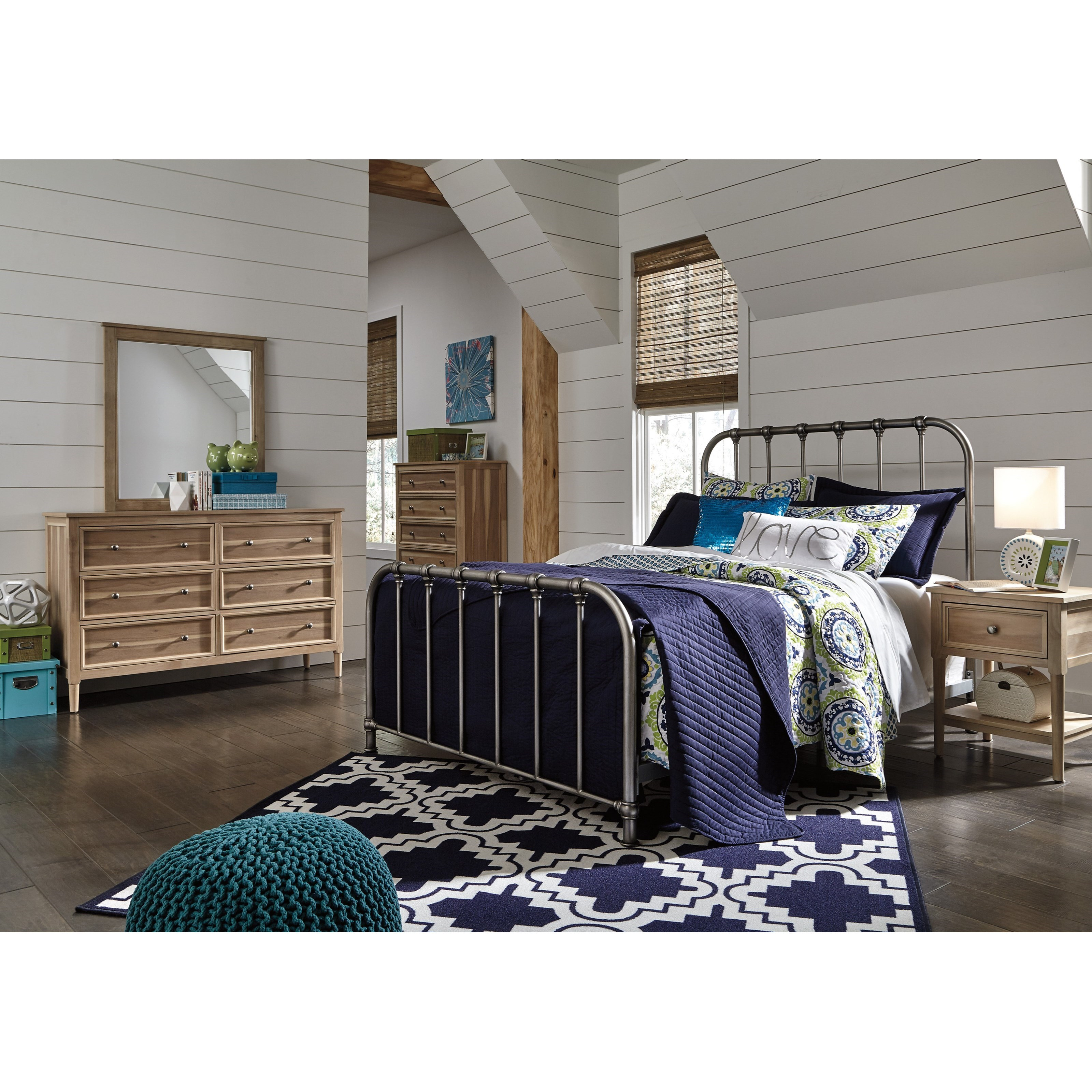 Signature Design By Ashley Nashburg Full Metal Bed In Aged