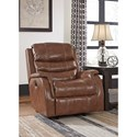 Signature Design by Ashley Metcalf Leather Match Power Rocker Recliner w/ Adjustable Headrest