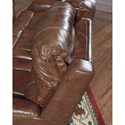 Signature Design by Ashley Metcalf Leather Match Power Reclining Loveseat w/ Adj. Headrest