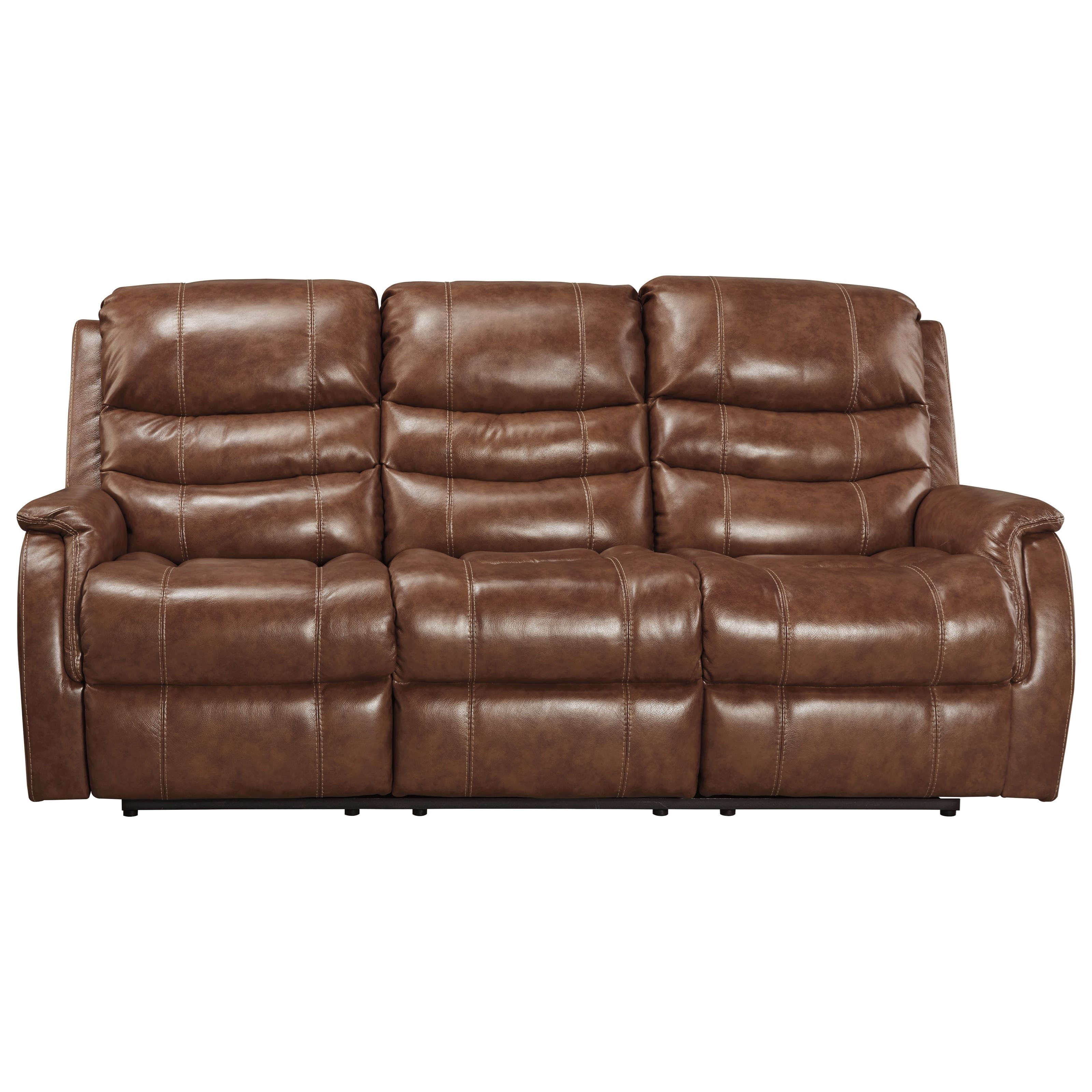 Signature Design by Ashley Metcalf Leather Match Power Reclining Sofa w/ Adjustable Headrest ...