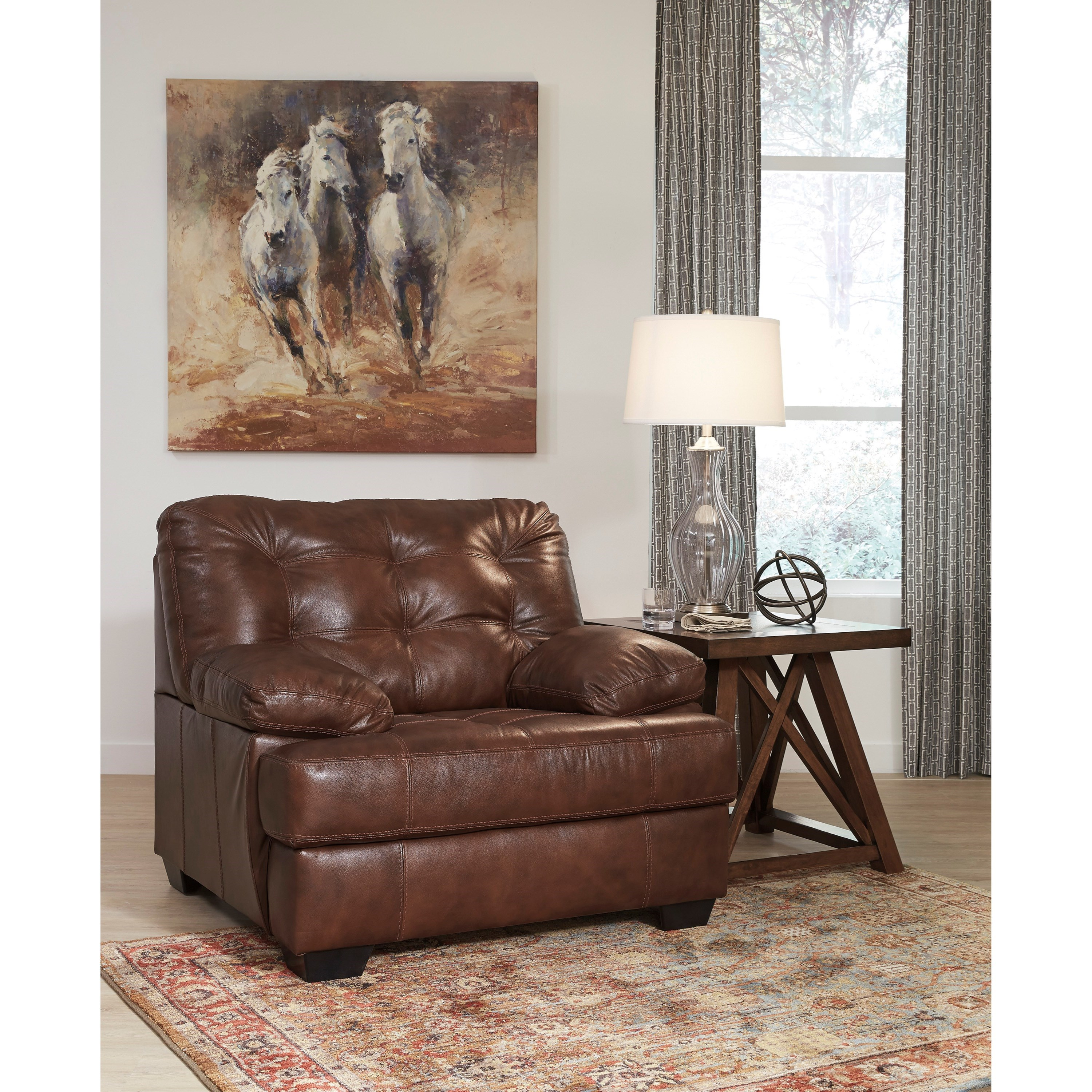 Signature Design By Ashley Mindaro 1550220 Leather Match Chair With Tufting Becker Furniture
