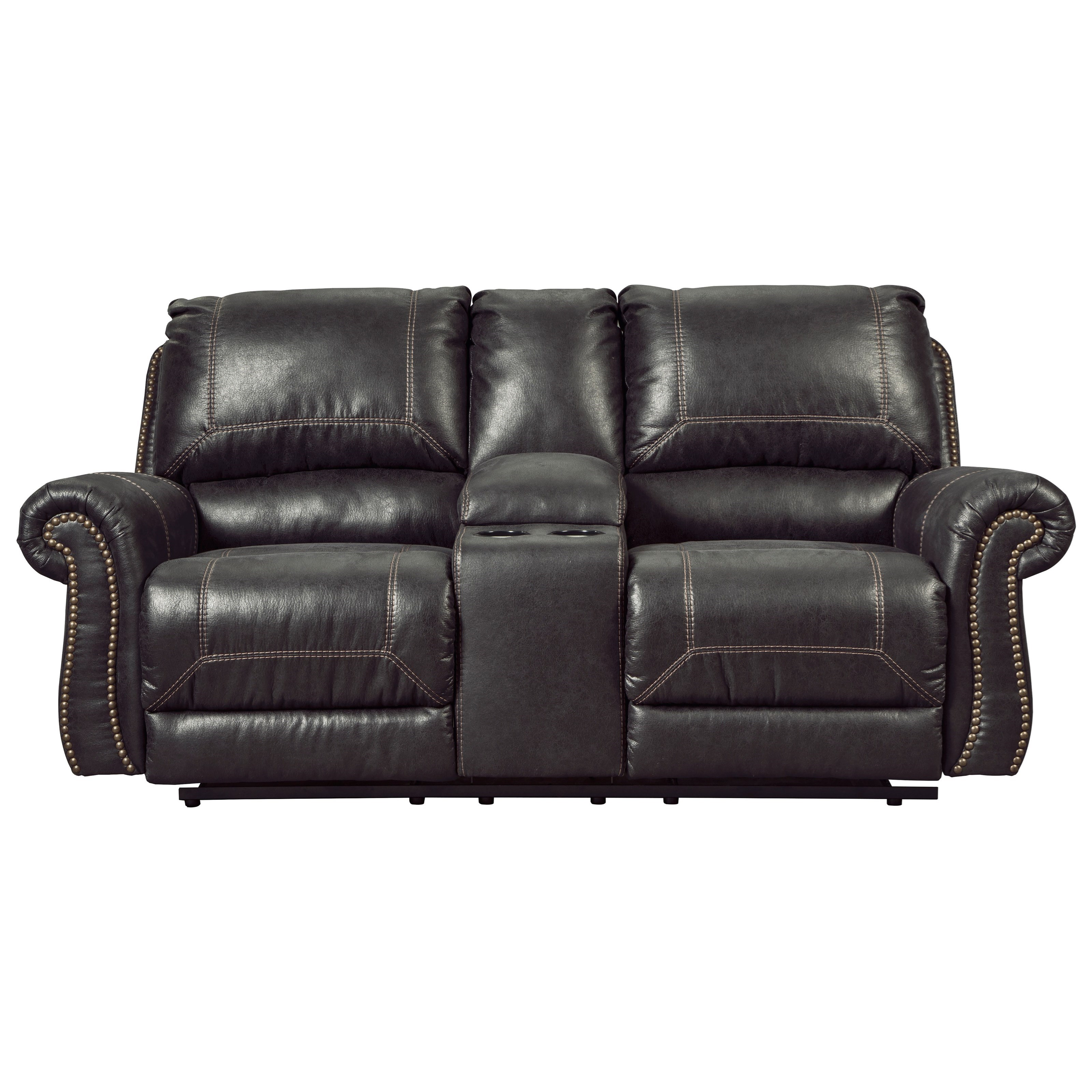 Signature Design by Ashley Milhaven Double Reclining Loveseat w/ Console - Item Number: 6330394
