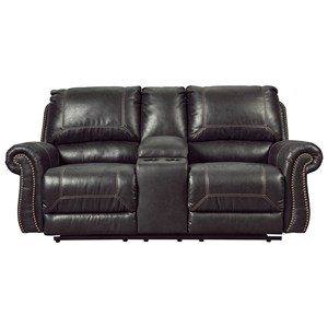 Signature Design by Ashley Furniture Milhaven Double Reclining Loveseat w/ Console