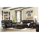 Signature Design by Ashley Milhaven Double Reclining Loveseat w/ Console with Rolled Arms & Nailhead Trim