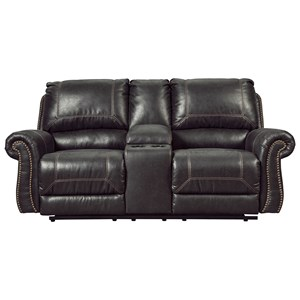 Signature Design by Ashley Milhaven Double Reclining Power Loveseat w/ Console