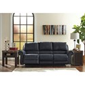 Signature Design by Ashley Milhaven Reclining Power Sofa with Rolled Arms & Nailhead Trim