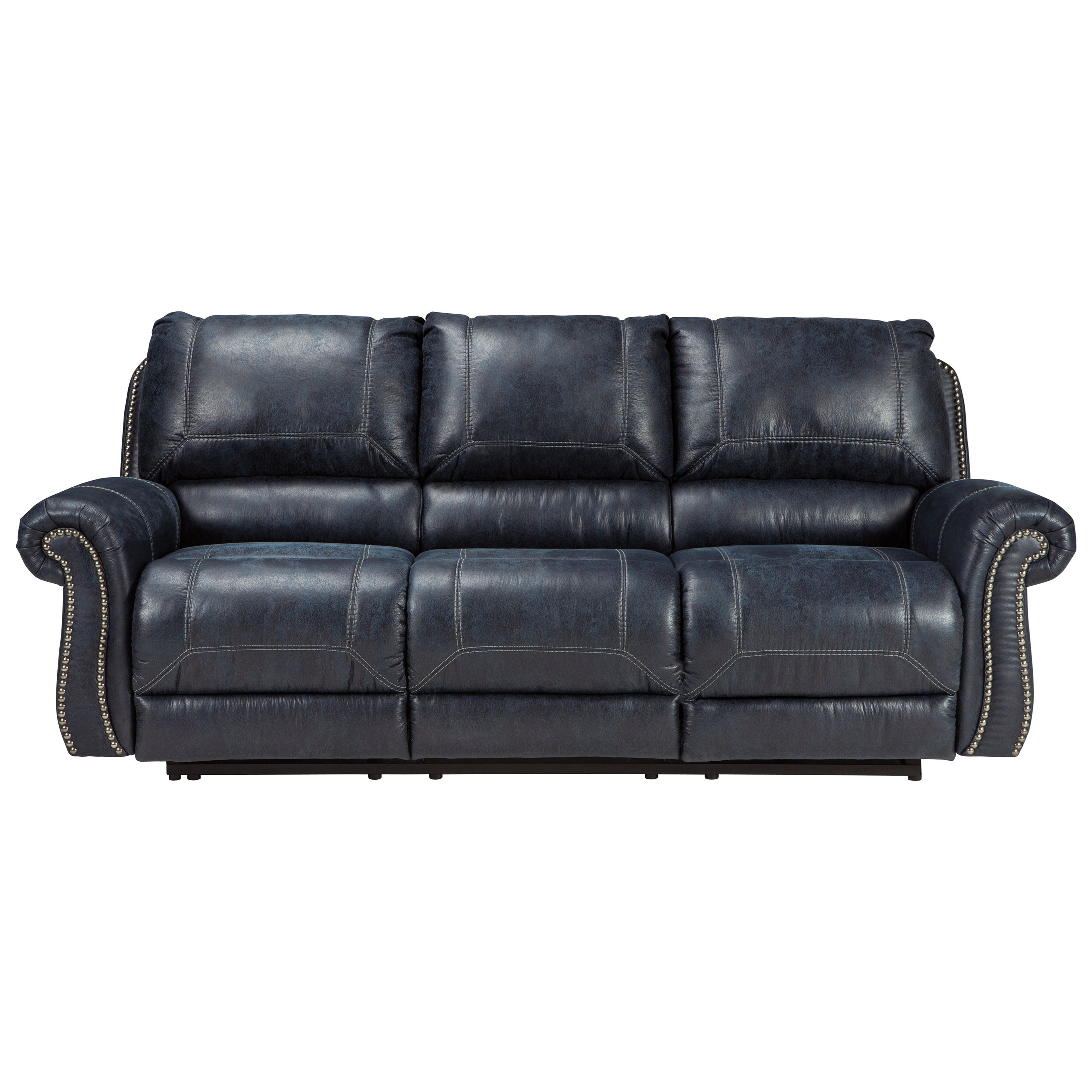 Signature Design by Ashley Milhaven Reclining Sofa with Rolled Arms & Nailhead Trim Wayside