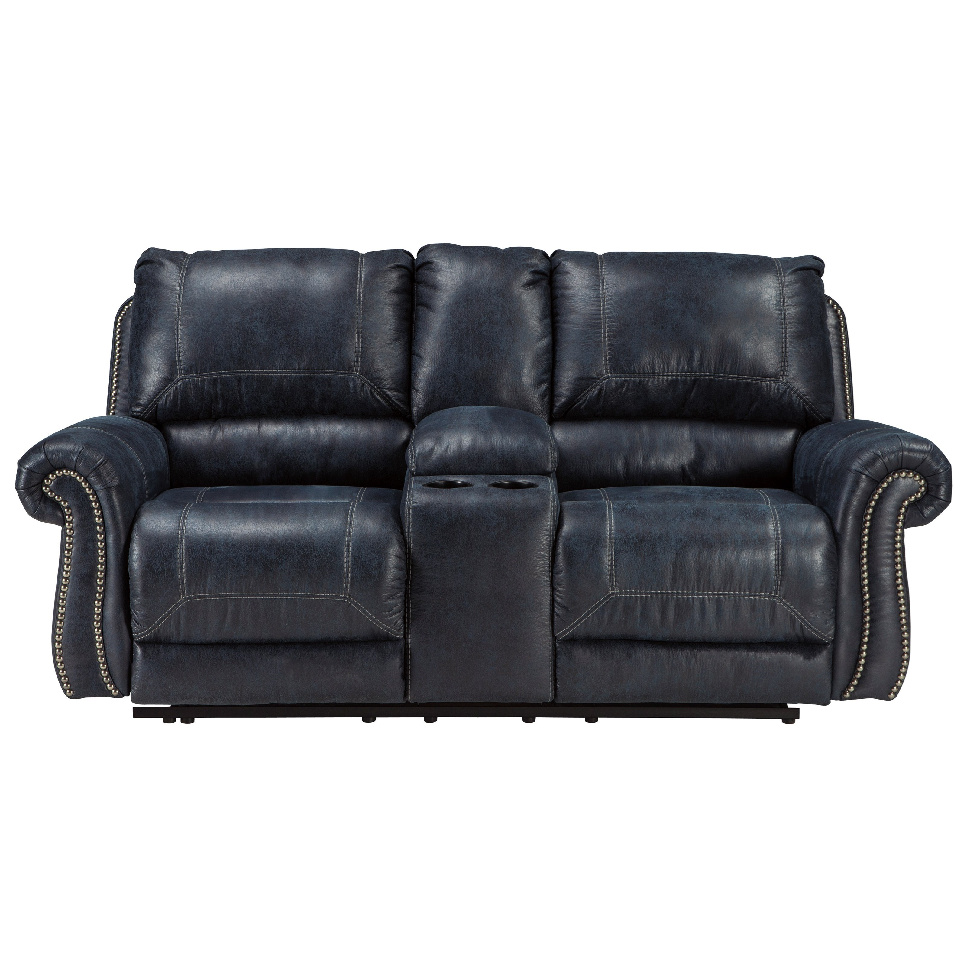 Signature Design By Ashley Milhaven 6330494 Double Reclining Loveseat W Console With Rolled