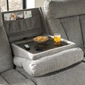 Signature Design by Ashley Mitchiner Casual Reclining Sofa with Drop Down Table - Drop down table, storage, and cup holders