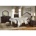 Signature Design by Ashley Moluxy Traditional Dresser & Bedroom Mirror in Cherry Finish