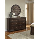 Signature Design by Ashley Moluxy Traditional Dresser in Cherry Finish