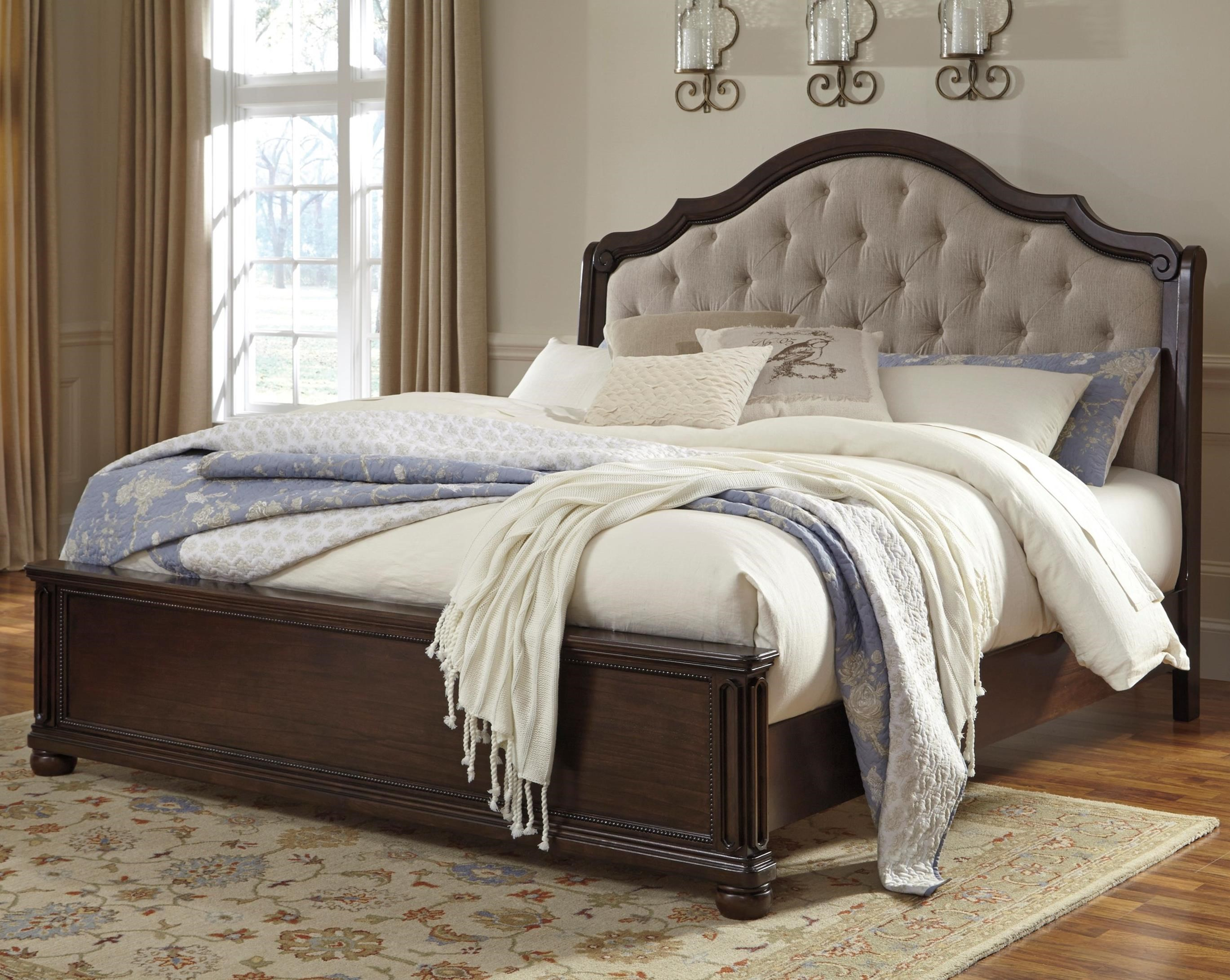 Signature Design by Ashley Moluxy King Bed with Upholstered Sleigh Headboard - Item Number: B596-58+56+97