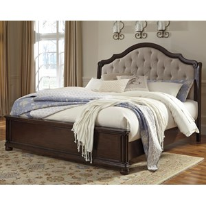 Signature Design by Ashley Moluxy Cal King Bed w/ Upholstered Sleigh Headboard