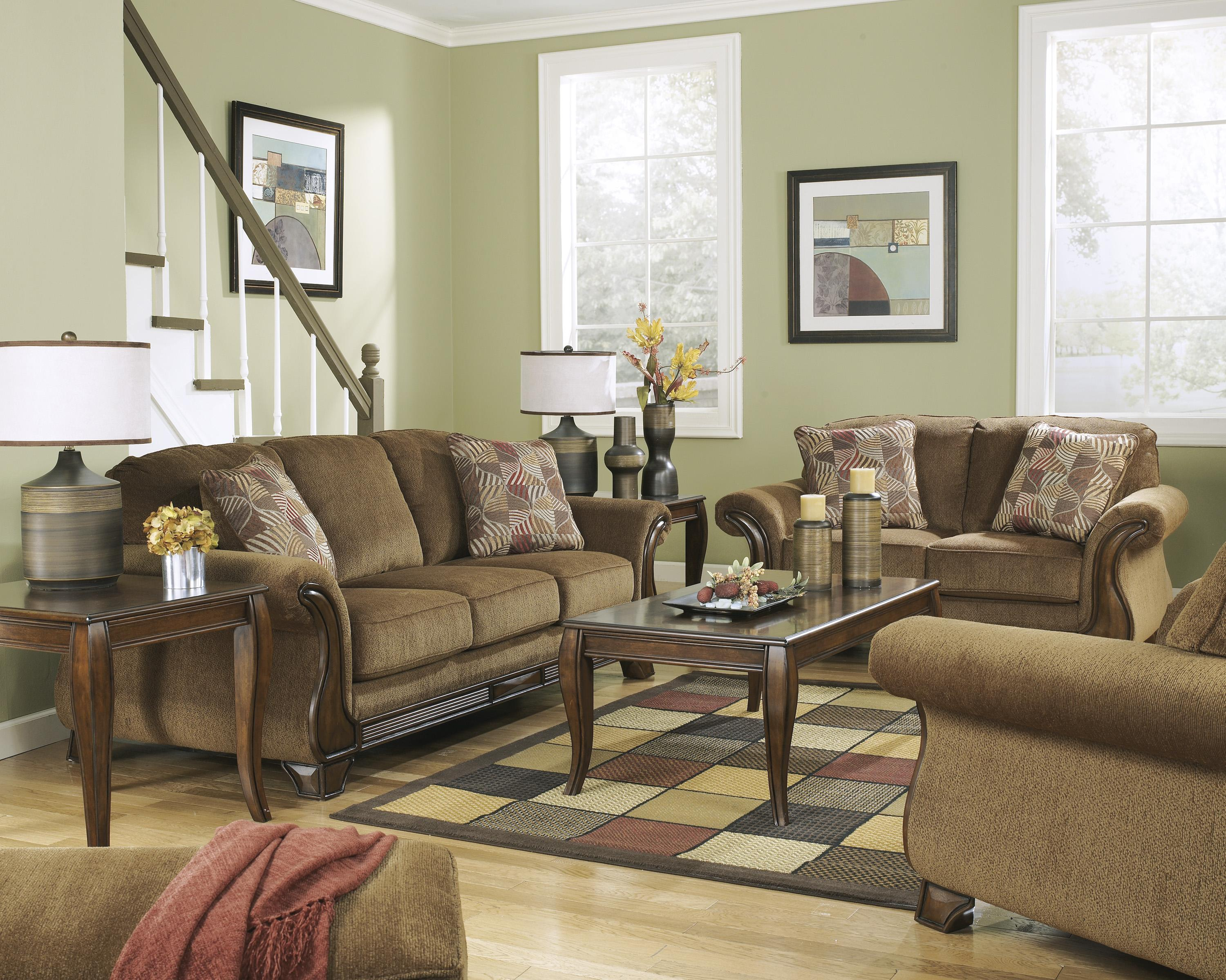Signature Design by Ashley Montgomery - Mocha Stationary Living Room Group - Item Number: 38300 Living Room Group 4