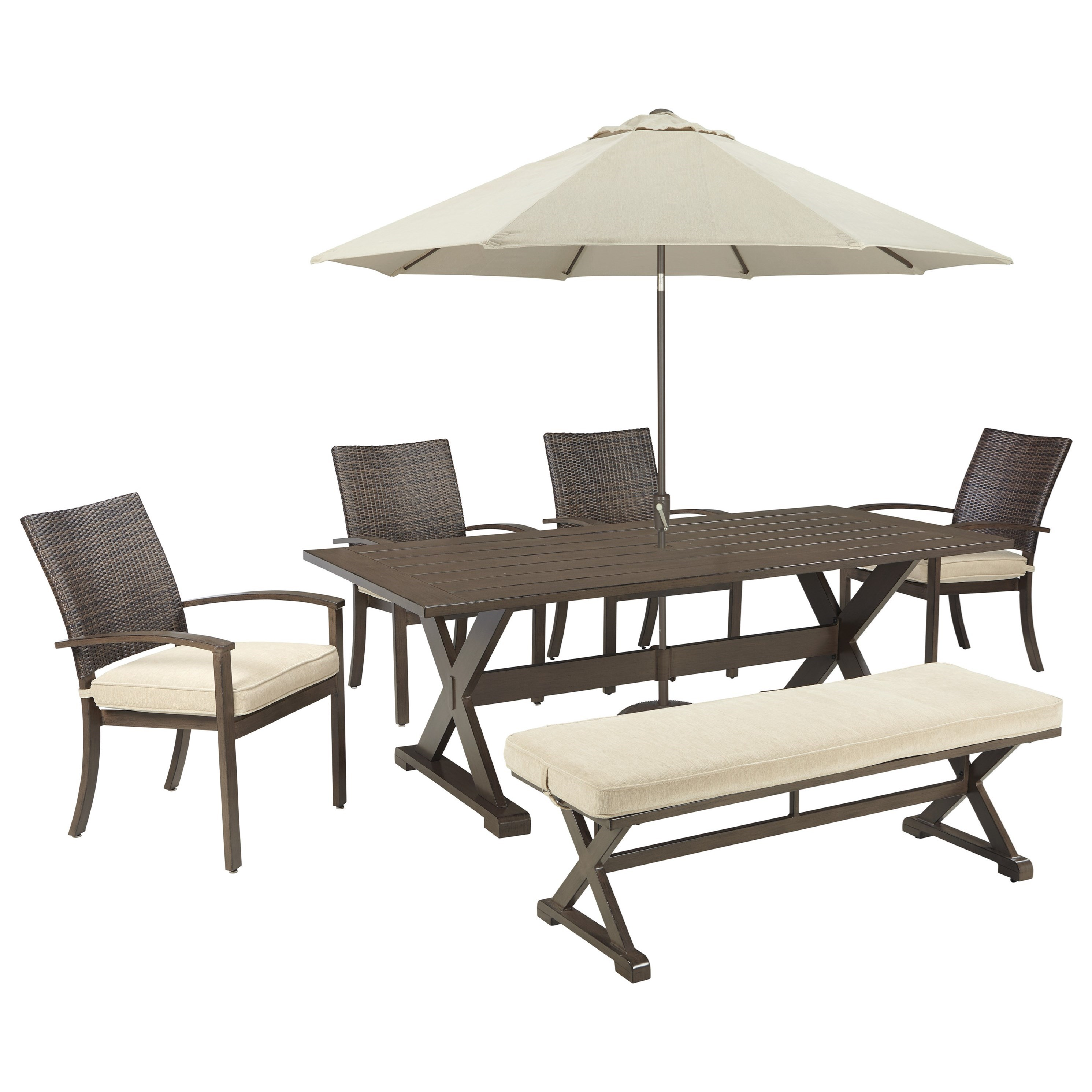 Outdoor dining table with umbrella - Signature Design By Ashley Moresdale Outdoor Dining Set With Bench Umbrella Item Number