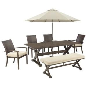 Signature Design by Ashley Moresdale Outdoor Dining Set with Bench & Umbrella